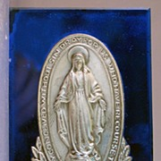 Commemorative of the Appearance of the Virgin Mary to St. Catherine of Laboure on Cobalt Mirro