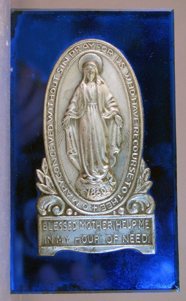 Commemorative of the Appearance of the Virgin Mary to St. Catherine of Laboure on Cobalt Mirrored Glass