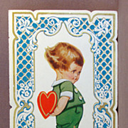 SALE Early folding Valentine Card  Boy with heart