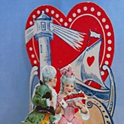 German Die Cut Fold-out Dimensional Valentine Card