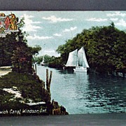 1908 Chromolithograph Postcard of Sandwich Canal, Windsor Ontario