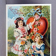 SALE Valentine with two girls and a basket of hearts and roses.