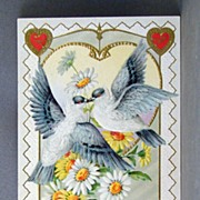SALE 1911 Valentine with kissing doves