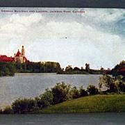 Unused Chromolithograph Postcard German Building and Lagoon Jackson Park, Chicago