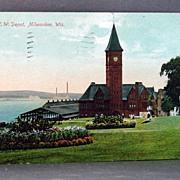 1909 Chromolithograph Postcard C & N. W. Depot, Milwaukee, WI