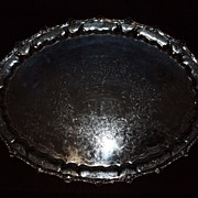 Exquisite 19th Century English Silver Plate Handled Serving Tray