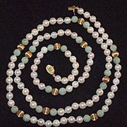 SALE Beautiful Cultured Pearl Necklace with Jade and 14K Gold Accent Beads