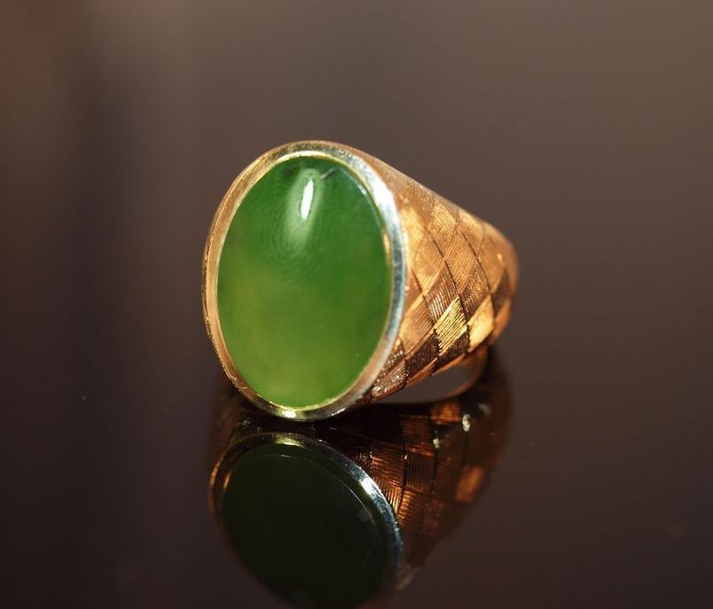 Men's 14K Etched Gold Ring with Imperial Jade Cabochon