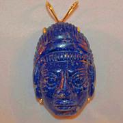 Large Chinese Lapis Lazuli and 14K Gold Deity Pendant