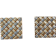 18K Yellow and White Gold Checkerboard Cufflinks