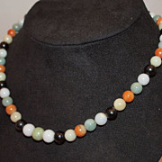 Vintage Chinese Jade Bead Necklace