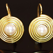 22K Gold and Cultured Pearl Earrings