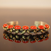 Navajo Coral 14k Gold and Sterling Silver Bracelet