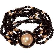 SALE Trianon Onyx Mabe Pearl Diamond and 14k Gold Bracelet