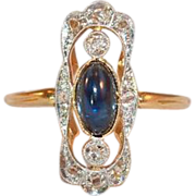 SALE 18k Gold and Platinum  Sapphire and Rose Cut Diamond Ring