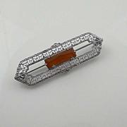 Vintage Art Deco Carnelian Filigree Rhodium Brooch Pin
