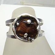 SALE Modernist Sterling Silver Agate Danish Borke Cuff Bracelet  Made In Denmark