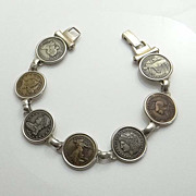 SALE Sterling Silver 1796 1933 Panama Pacific Lady Liberty Coin Replica Bracelet