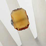 Vintage 1920s Rhodium Plate Amber Glass Ring