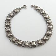 REDUCED Vintage Sterling Silver Half Puffy Heart Link Bracelet