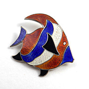 SALE Beau Sterling Silver Bright Enamel Fish Pin