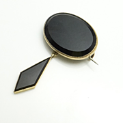 Antique Victorian Rolled Gold Onyx Pin Brooch