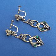 Long Antique Art Nouveau Screw Back Drop Earrings