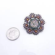 Victorian Antique 800 Silver Micro Mosaic Brooch Pin