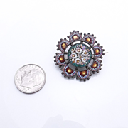 SALE Victorian Antique 800 Silver Micro Mosaic Brooch Pin