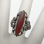 REDUCED Vintage Sterling Silver Carnelian Beau Ring