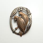 Vintage Art Nouveau Sterling Silver Mixed Metal Love Bird Pin Brooch