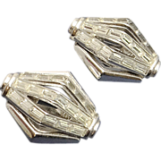 Glamorous Vintage Trifari Baguette Rhinestone Clip On Earrings
