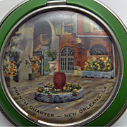 SALE PENDING 1930s Enameled Pictorial Souvenir Powder Compact RARE French Quarters New Orleans