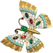 SALE Colorful Vintage Jomaz Pave Rhinestone Butterfly Pin Brooch
