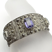 REDUCED Ornate Vintage Sterling Silver Gemstone Lebanon Bracelet