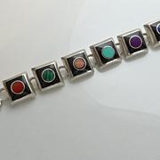 SALE Mexican Sterling Silver Gemstone Inlay Toggle Bracelet