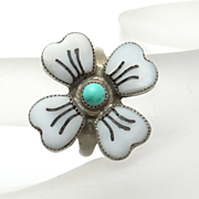 Indian Sterling Silver Mother of Pearl Turquoise Flower Ring
