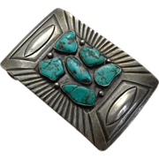 SALE Early Native American Indian Sterling Silver Turquoise Belt Buckle