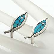 Mexican Sterling Silver Turquoise Figural Fish Earrings