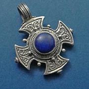 Etruscan Sterling Silver Lapis Cross Pendant