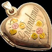 SALE Vintage Sweethearts Photo Locket Grandmother Grandma 14K Rose Gold Filled  Enamel c1940's