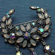 REDUCED Vintage Florenza Opalescent Aurora Borealis Rhinestone Drop Pin Brooch