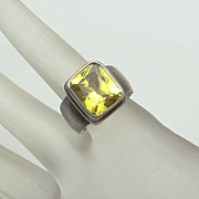 REDUCED Sarda Sterling Silver Lime Green Stone Ring