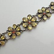 REDUCED Sterling Silver Citrine Garnet Flower India Bracelet