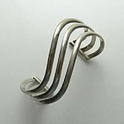 REDUCED Wavy Sterling Silver Modernist Cuff Bracelet