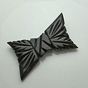 REDUCED Large Vintage Carved Black Bakelite Bow Pin