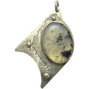 REDUCED Unique Sterling Silver Moss Agate Pendant