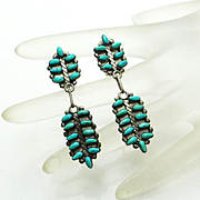 REDUCED Long Vintage Indian Sterling Silver Needlepoint Turquoise Drop Clip On Earrings
