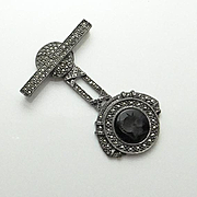 REDUCED Large Vintage Judith Jack Sterling Marcasite Onyx Intaglio Pin Brooch