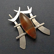 REDUCED Huge Sterling Silver Banded Agate Oriental Brooch Pin